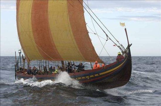 Real Viking boat waves