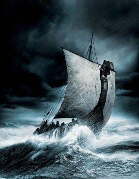Viking boat waves