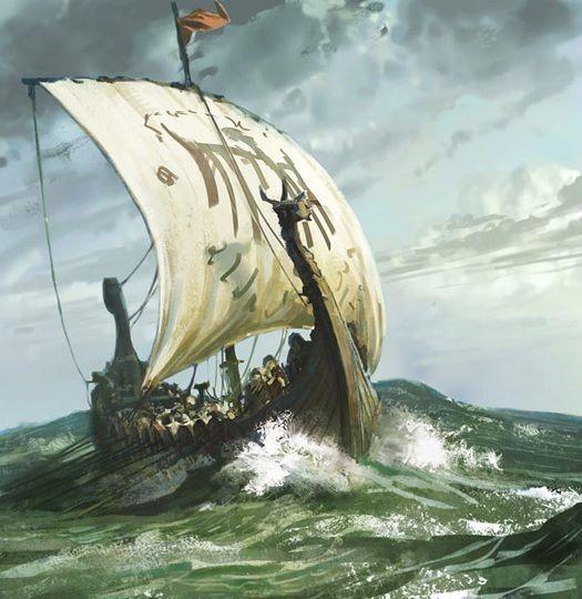 Waves crashing against boat Viking